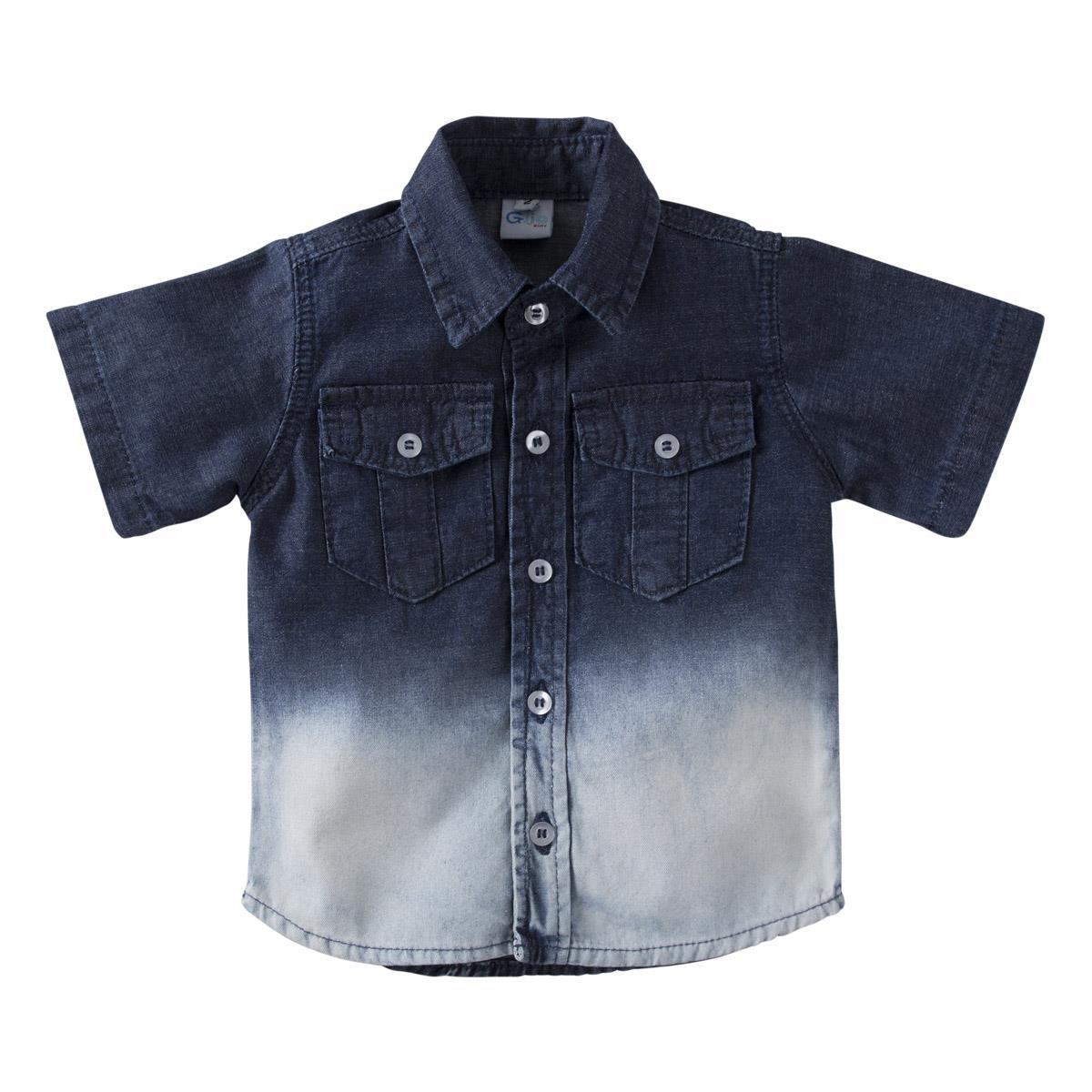Camisa Jeans Manga Curta - Degradê