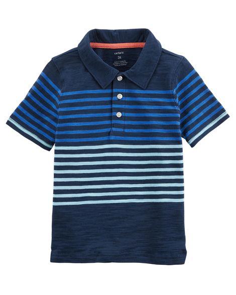 Camisa Polo Manga Curta - Listras azuis - Carter's