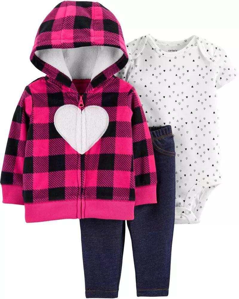 Conjunto Blusa, Body e Calça - Coração Rosa - Carter's