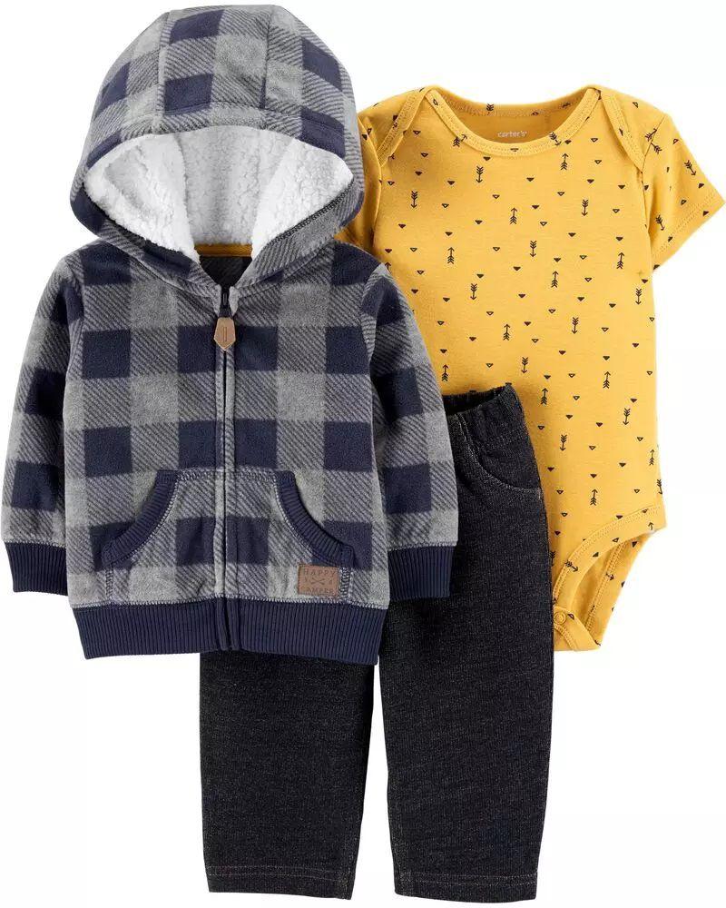 Conjunto Blusa, Body e Calça - Xadrez Amarelo - Carter's