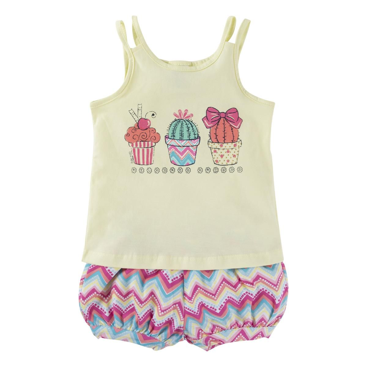 Conjunto Blusinha e Shorts - Cupcake e Vasos
