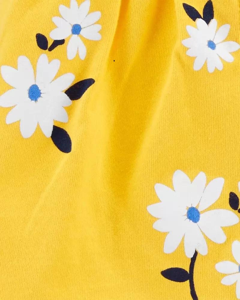 Conjunto Body, Blusinha e Shorts - Floral Amarelo - Carter's