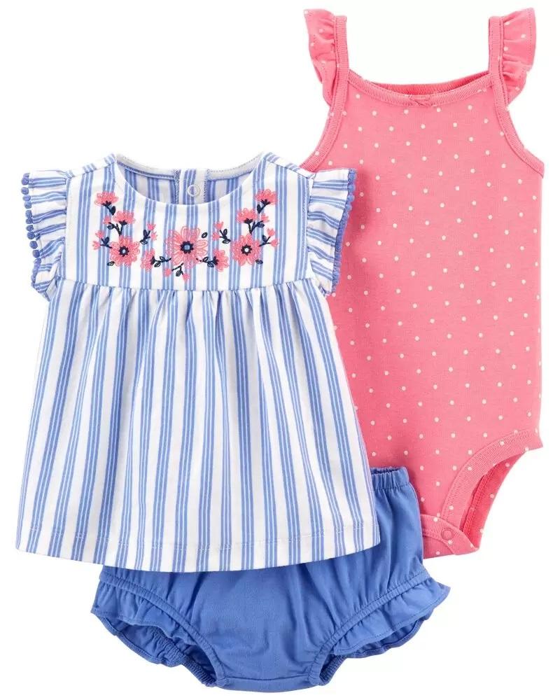 Conjunto Body, Blusinha e Shorts - Listras Azul - Carter's