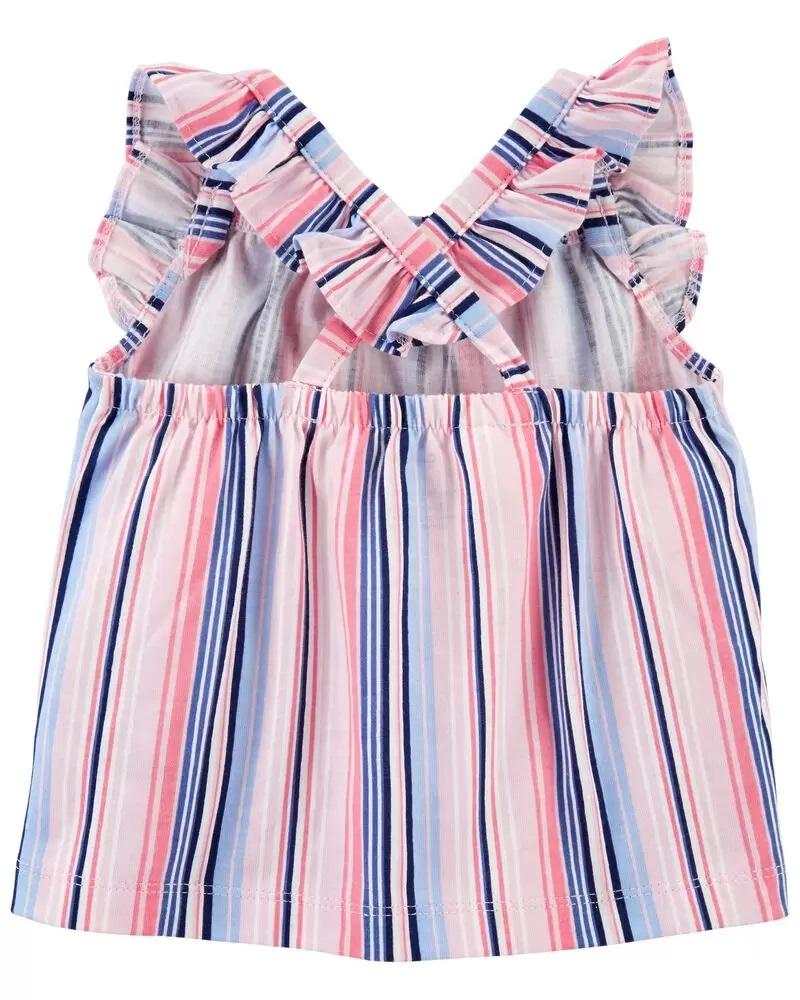 Conjunto Body, Blusinha e Shorts - Listras Rosa - Carter's