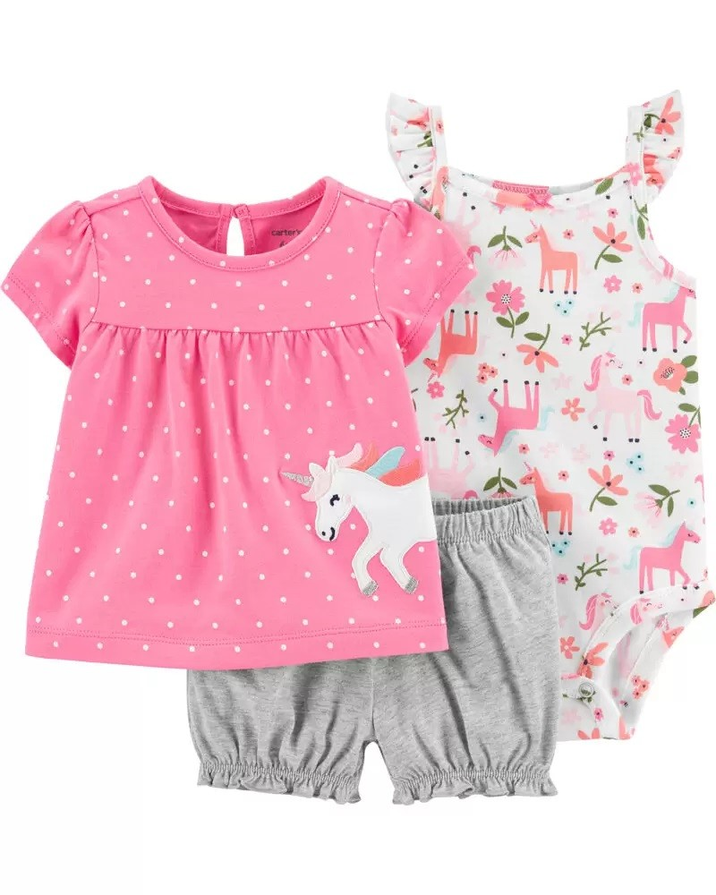 Conjunto Body, Blusinha e Shorts - Unicórnio - Carter's