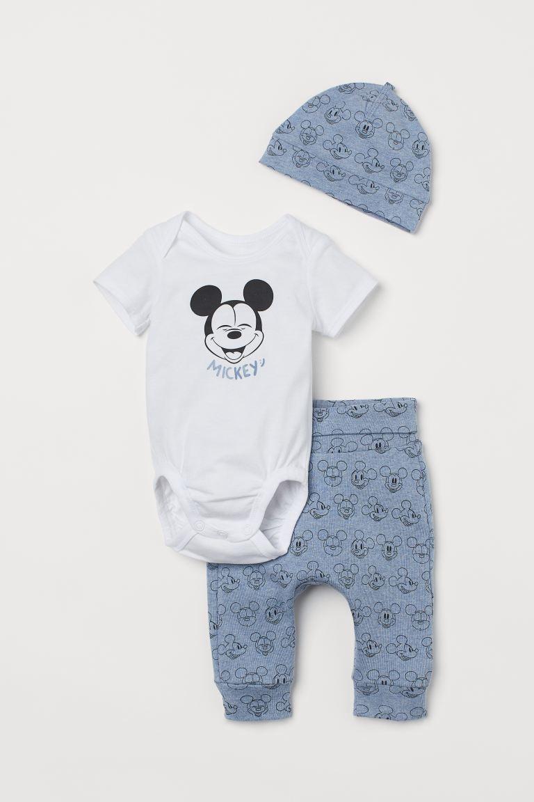 Conjunto Body, Calça e Touca - Mickey - H&M Disney