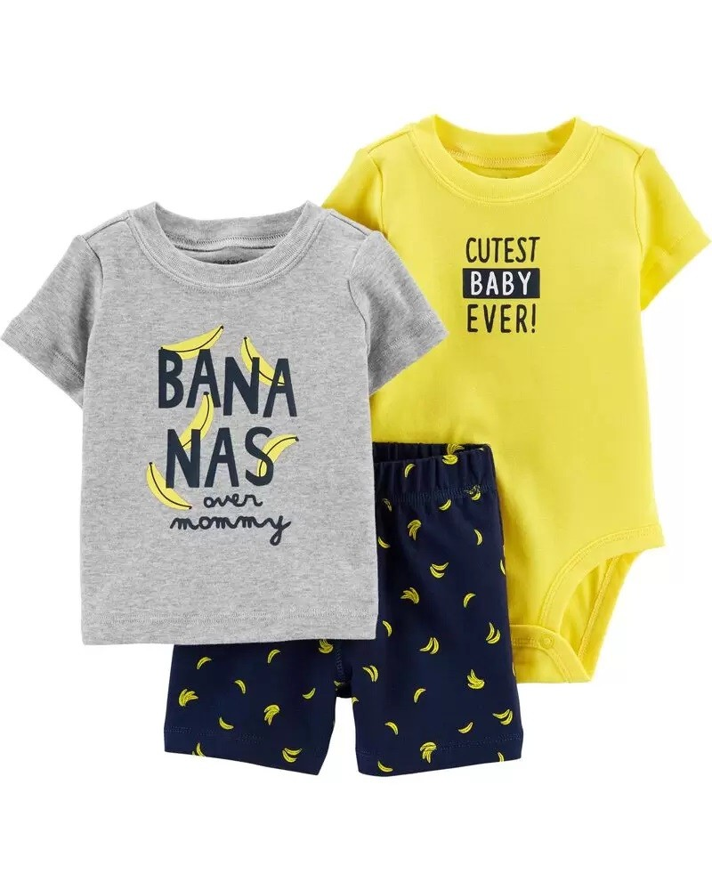 Conjunto Body, Camiseta e Shorts - Banana - Carter's