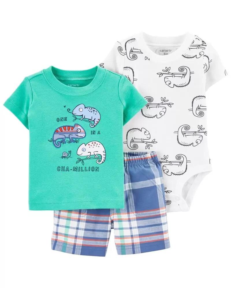 Conjunto Body, Camiseta e Shorts - Camaleão - Carter's