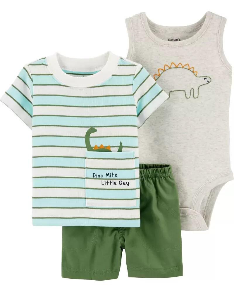 Conjunto Body, Camiseta e Shorts - Dino - Carter's