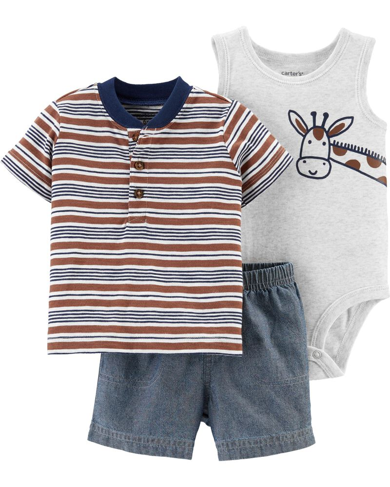 Conjunto Body, Camiseta e Shorts - Girafa - Carter's