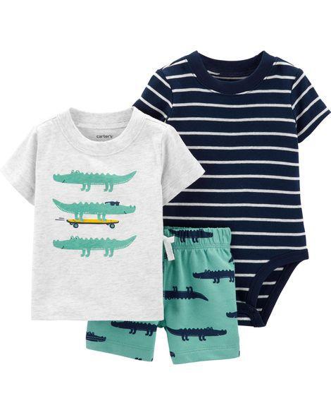 Conjunto Body, Camiseta e Shorts - Jacaré - Carter's