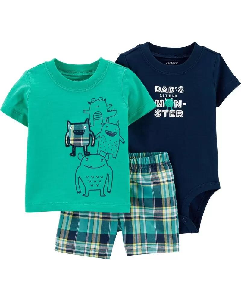 Conjunto Body, Camiseta e Shorts - Monstrinho  - Carter's