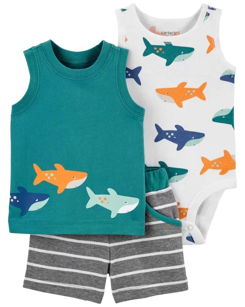 Conjunto Body, Camiseta e Shorts - Tuba - Carter's