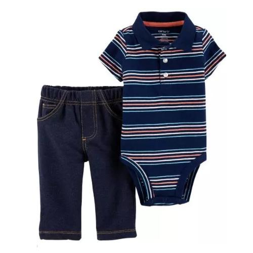 Conjunto Body Polo e Calça - Listras - Carter's