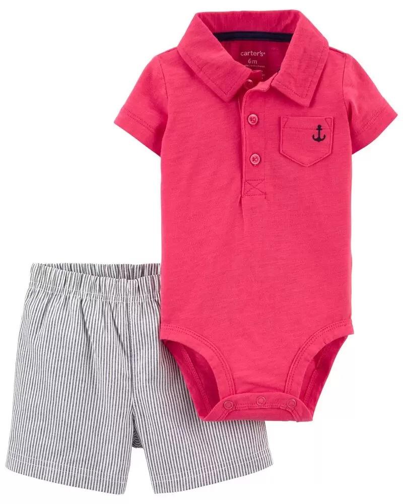 Conjunto Body Polo e Shorts - Vermelho - Carter's