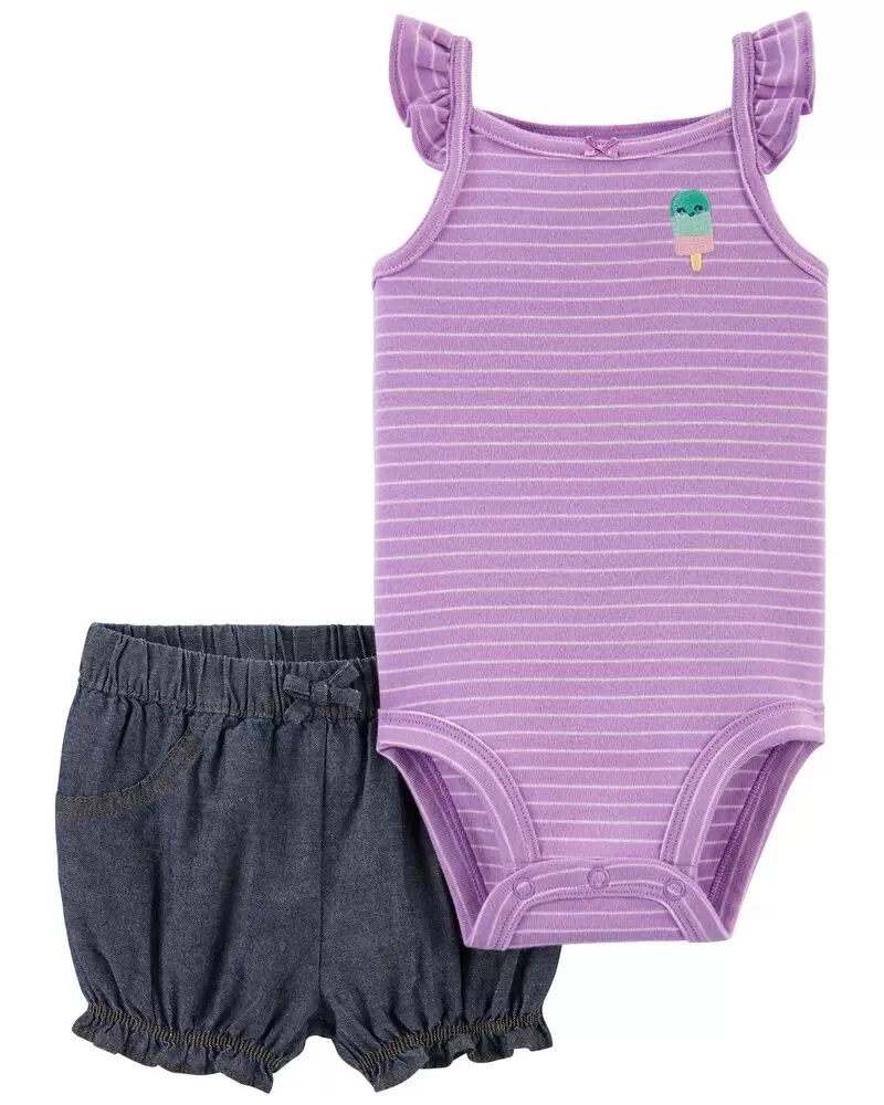 Conjunto Body Regata e Shorts - Sorvete - Carter's