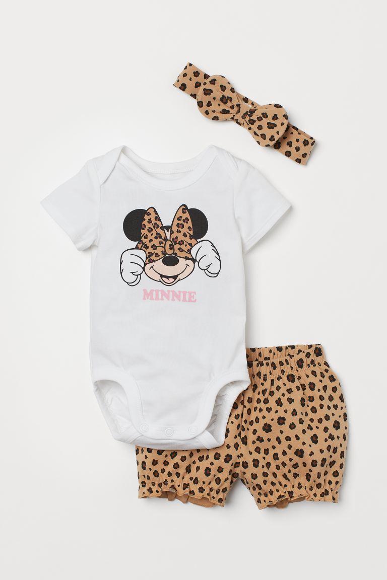 Conjunto Body, Shorts e Faixa - Minnie - H&M Disney