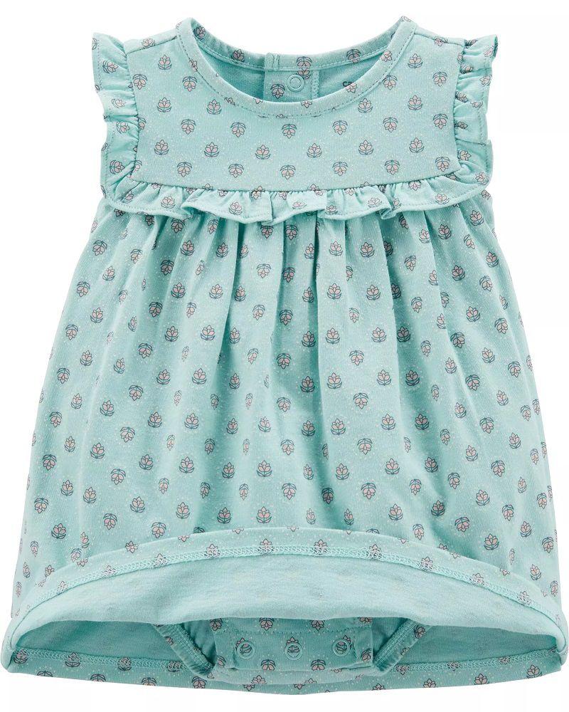 Conjunto Body Vestido e Cardigan - Floral Azul - Carter's