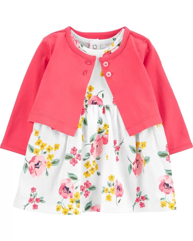 Conjunto Body Vestido e Cardigan - Floral - Carter's
