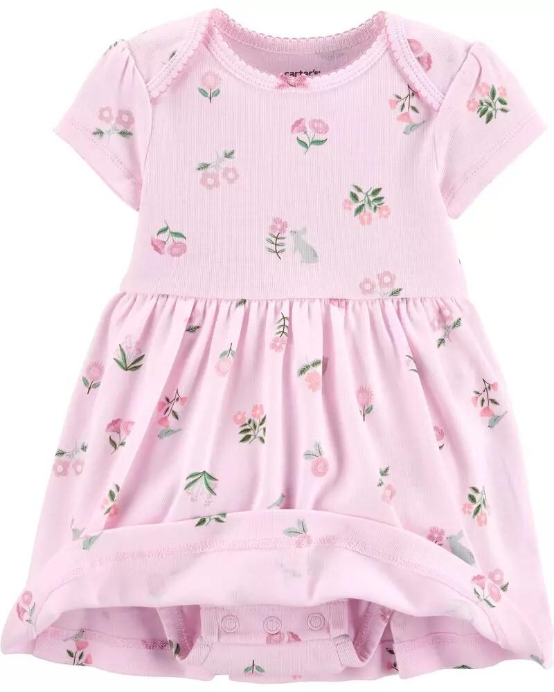 Conjunto Body Vestido e Cardigan - Floral Rosa - Carter's
