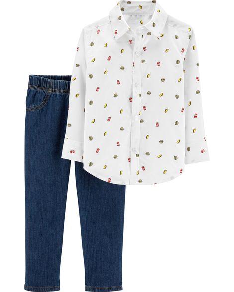 Conjunto Camisa Social e Calça Jeans - Taco - Carter's