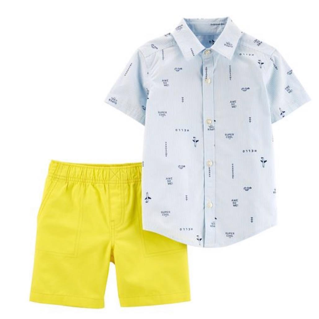 Conjunto Camisa Social e Shorts - Avião - Carter's