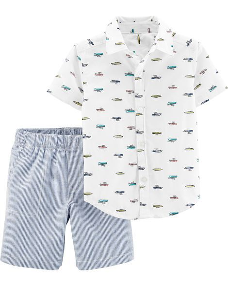 Conjunto Camisa Social e Shorts - Barco - Carter's