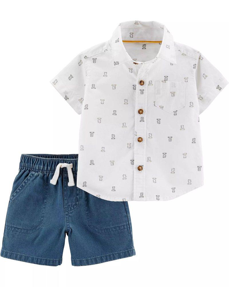 Conjunto Camisa Social e Shorts - Coala - Carter's