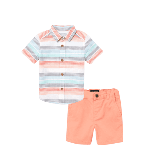 Conjunto Camisa Social e Shorts - Coral - The Children's Place