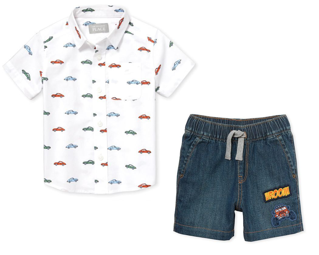 Conjunto Camisa Social e Shorts - The Children's Place - Carrinhos
