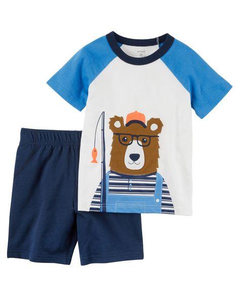 Conjunto Camiseta e Shorts - Urso pescador - Carter's