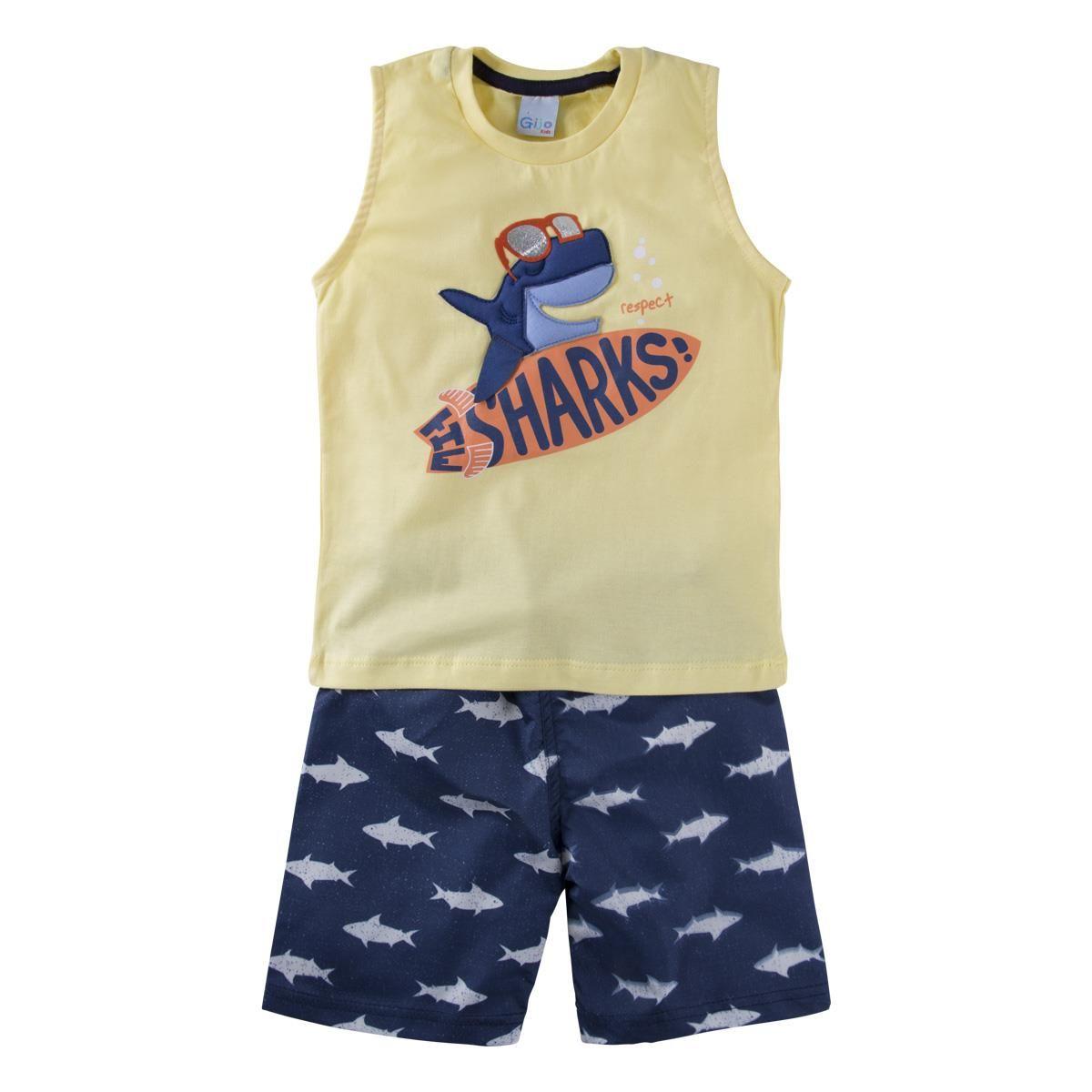 Conjunto Camiseta regata e Shorts - tubarão
