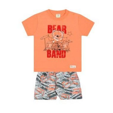 Conjunto Camiseta Shorts - Urso baterista