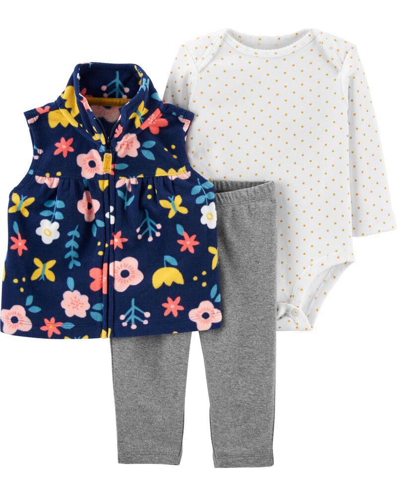 Conjunto Colete, Body e Calça - Floral - Carter's