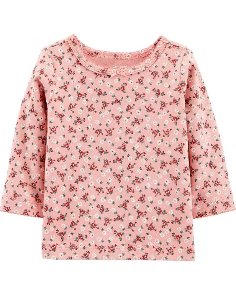 Conjunto Jardineira, Camiseta e Meia Calça - Floral - Carter's