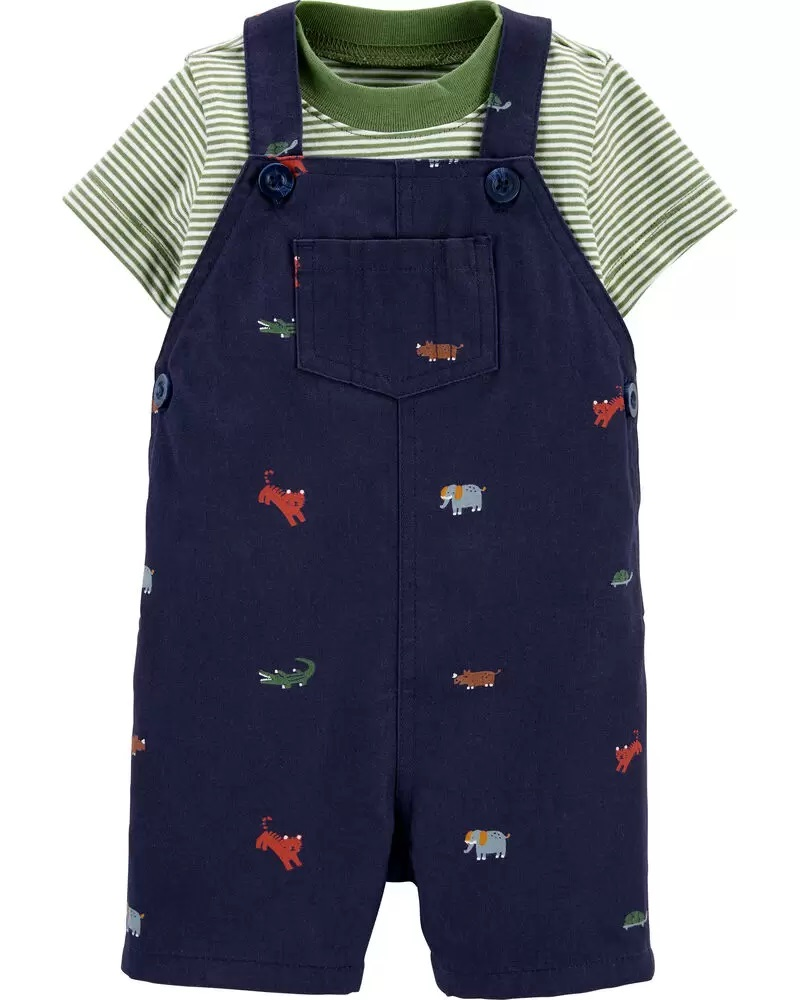 Conjunto Jardineira e Camiseta - Animais - Carter's