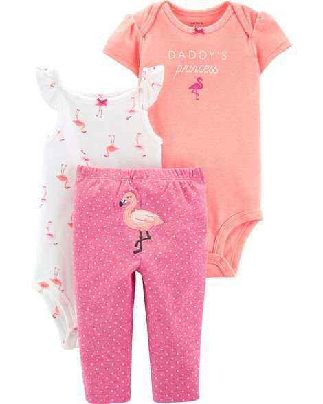 Kit com 2 Bodies e 1 Calça Carter's - Trio Flamingo