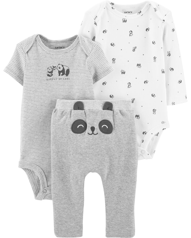 Kit com 2 Bodies e 1 Calça Carter's - Trio Panda