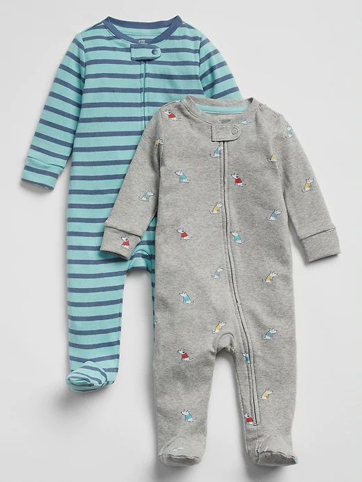 Kit com 2 Pijamas - Cachorrinhos e Listrado - Gap