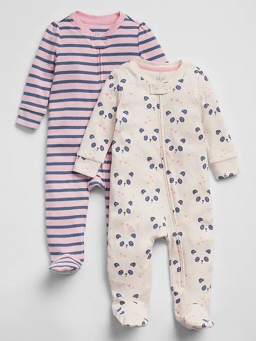 Kit com 2 Pijamas - Panda e Listrado - Gap