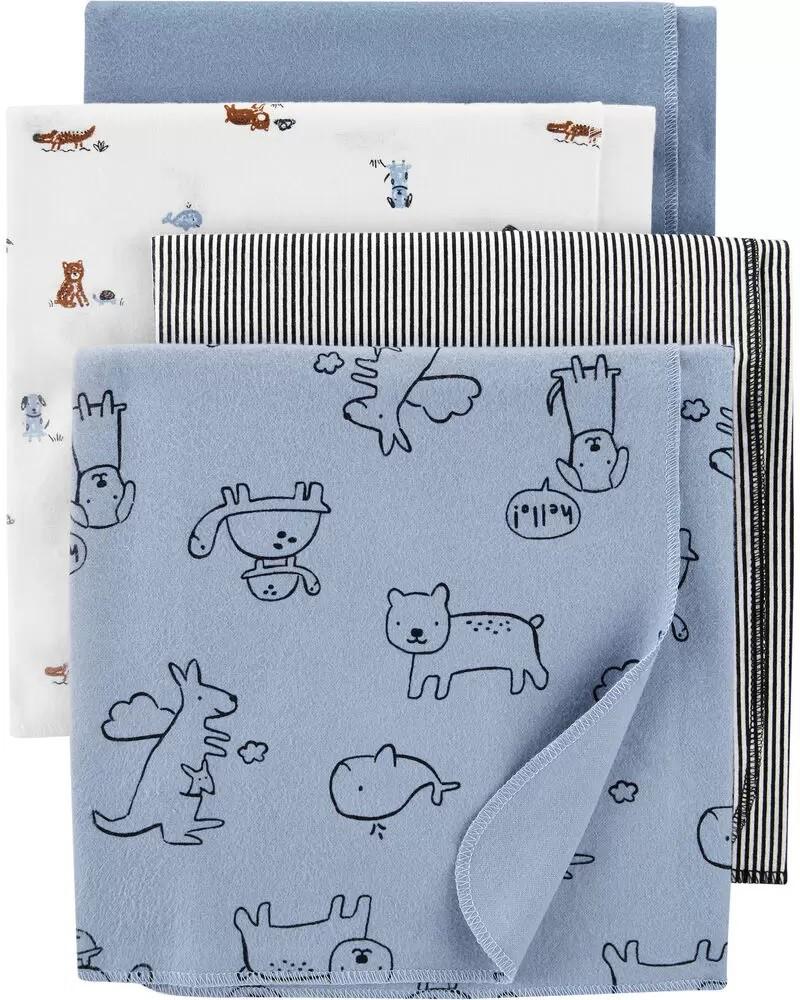 Kit com 4 Mantas - Cueiro Animais - Carter's