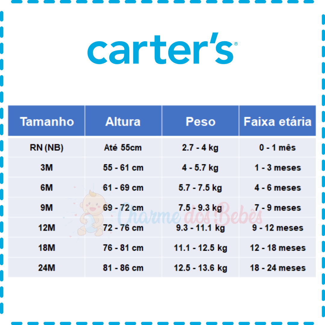 Kit com 5 Bodies Carter's Manga Regata - Joaninha