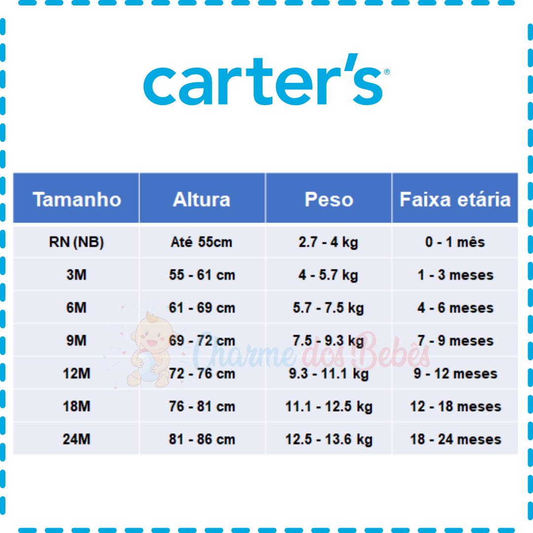 Kit com 5 Bodies Carter's Manga Regata - Ursinha
