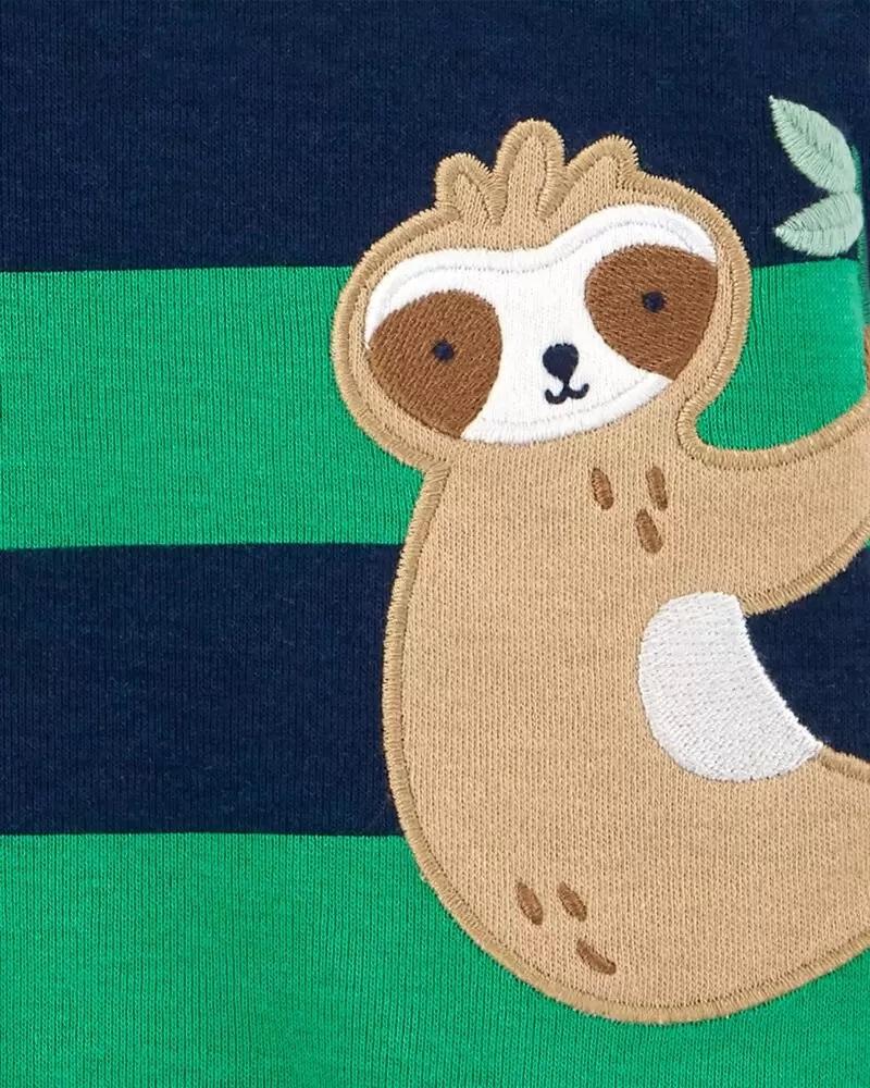 Macacão Curto Romper - Preguiça Verde - Carter's