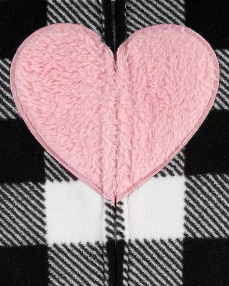 Macacão Fleece Longo Capuz  - Coração - Carter's