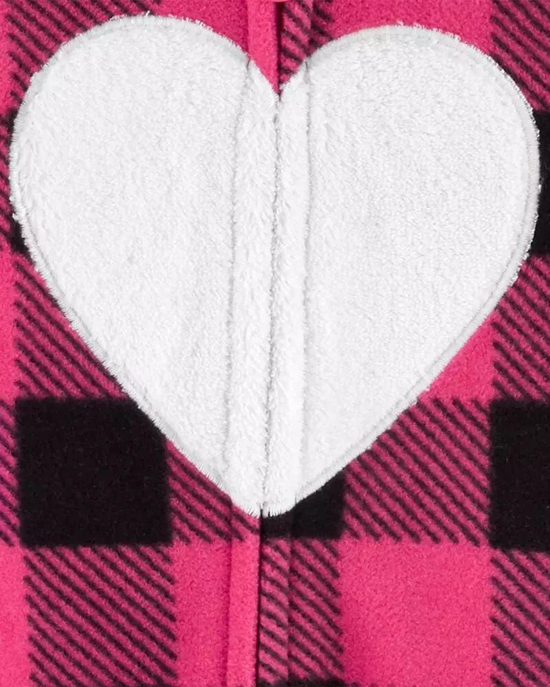 Macacão Fleece Longo Capuz  - Coração Rosa - Carter's
