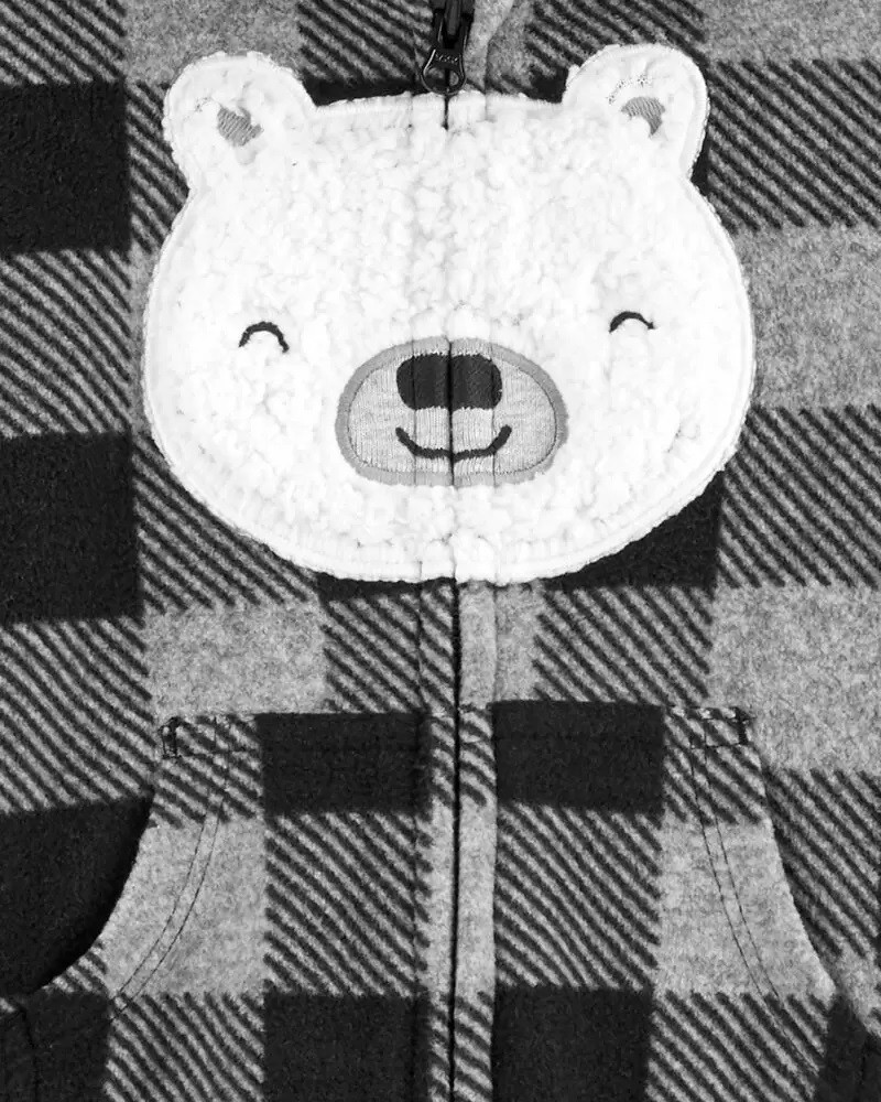 Macacão Fleece Longo Capuz  - Urso - Carter's