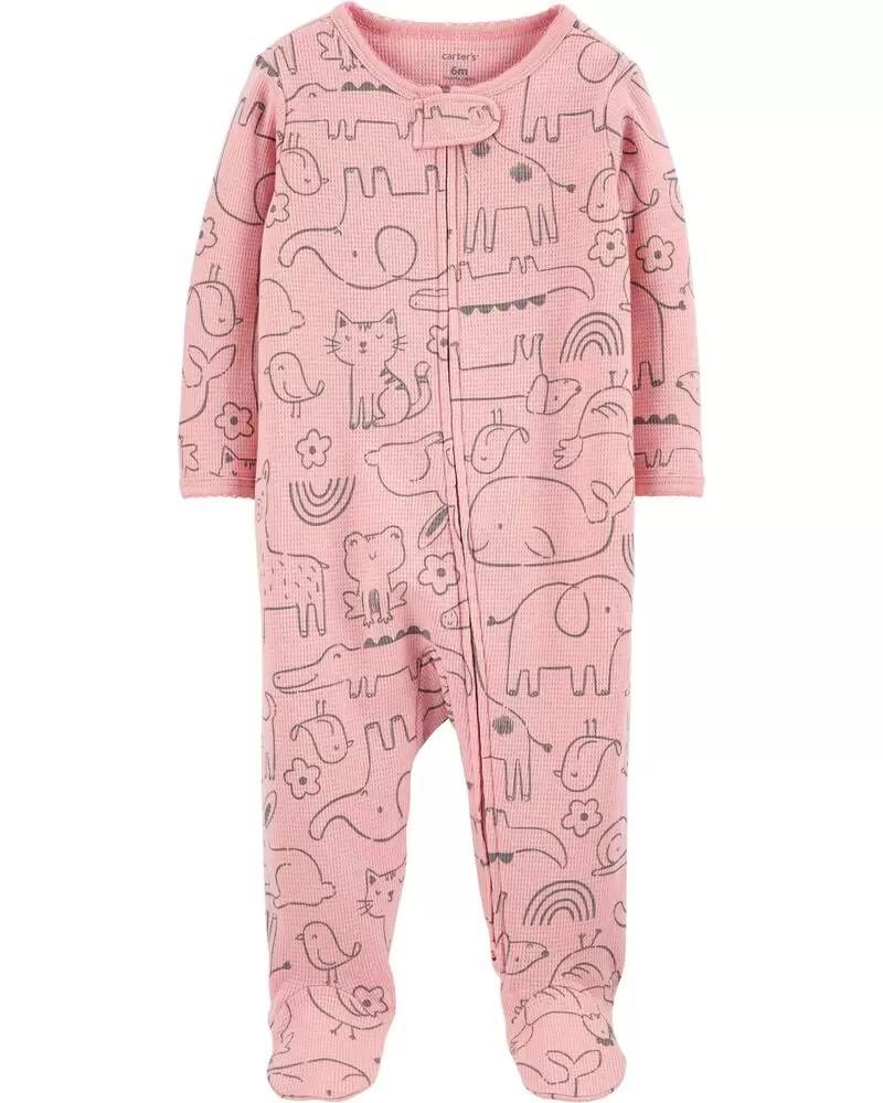 Pijama 2-Way Zip - Animais Rosa - Carter's