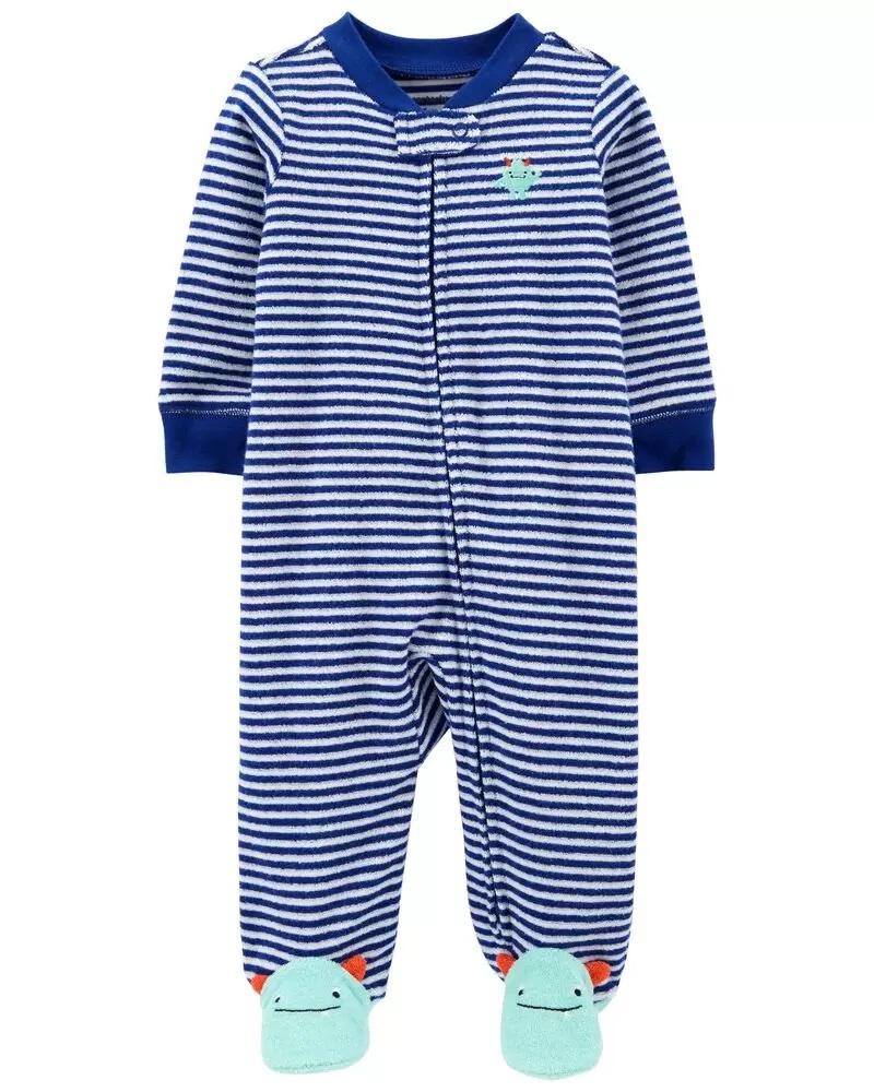 Pijama 2-Way Zip Terry - Monstrinho - Carter's