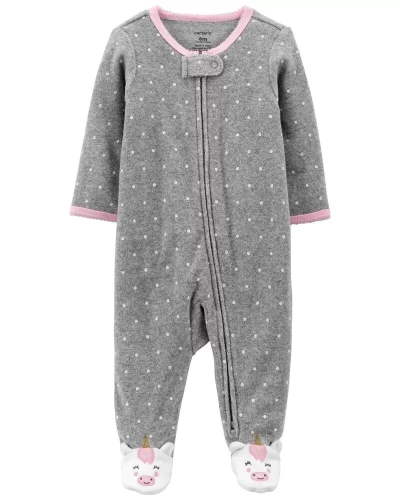 Pijama 2-way Zip Terry - Unicórnio - Carter's